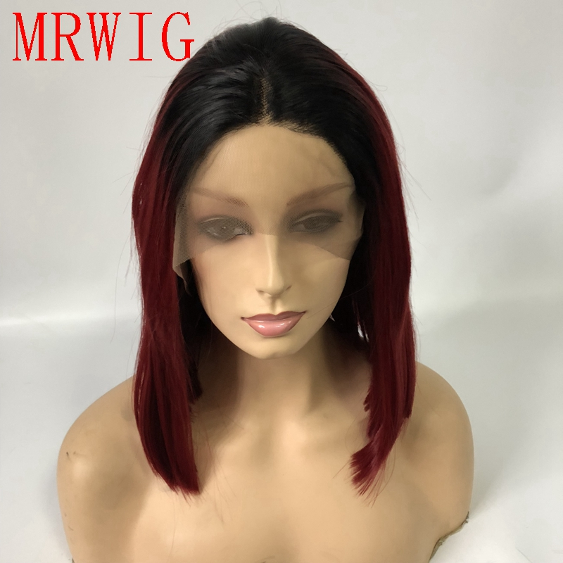MRWIG 12in real hair synthetic short bob straight style 1b# ombre burgundy hair color middle part real hair straight