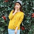 2015 de primavera y otoño o-cuello del diseño del cortocircuito de la rebeca suéter femenino del Color sólido gris amarillo punto suéteres Cardigan mujeres