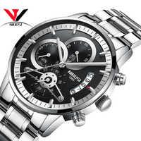 NIBOSI นาฬิกาผู้ชาย Top ยี่ห้อ Luxury นาฬิกาข้อมือควอตซ์สีดำนาฬิกากันน้ำ Casual ทหารกีฬานาฬิกาวงดนตรีเหล็กกล้า Relogio
