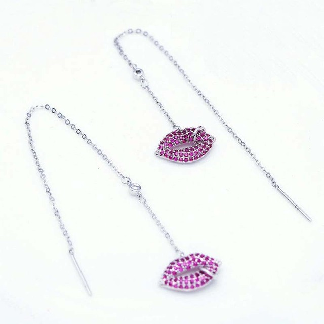 Red Trees Brand Jewelry New Arrival Personality Long Thread Lips Earrings With 925 Sterling Silver Needle