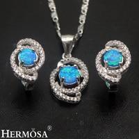 Australian Fire Opal Sets 925 Sterling Silver Earrings Pendant Necklace Set Grace Women Wedding Gift Pretty Girls Jewelry