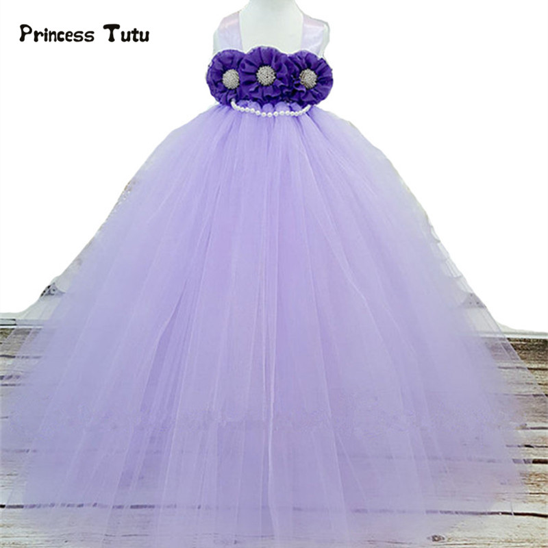 Party Tulle Girls Dress Lavender Purple Princess Flower Girl Dresses Wedding Ball Gown Kids Pageant Birthday Tutu Dress Vestidos