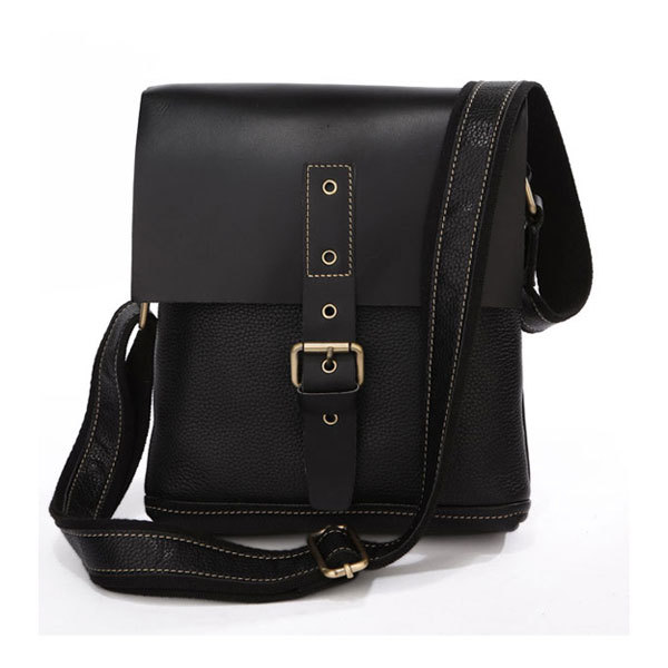 Black Casual Men Cowboy Vintage Genuine Leather Messenger Bag High Quality Small Should Bags 7157A high quality casual men bag