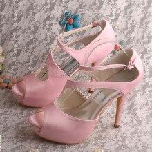 Розовый Женская Обувь Пятки Платформы с Открытым Носком Свадебная Обувь Атласная Индивидуальные