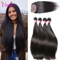 Light Brown Peruvian Virgin Hair Straight Human Hair Bundles With Closure 4 Bundles Peruvian Straight Virgin Hair With Closure
