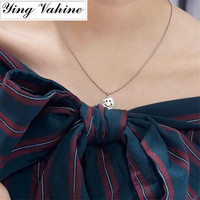 ying Vahine Hand made 925 Sterling Silver Necklace Women Smiling Face Symbol Pendant Necklaces for Women collier