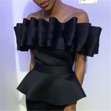 2019 Off Shoulder Top Backless Peplum Blouse Plus Size Women Slim Pleated Shirt Summer Elegant Party Bluas