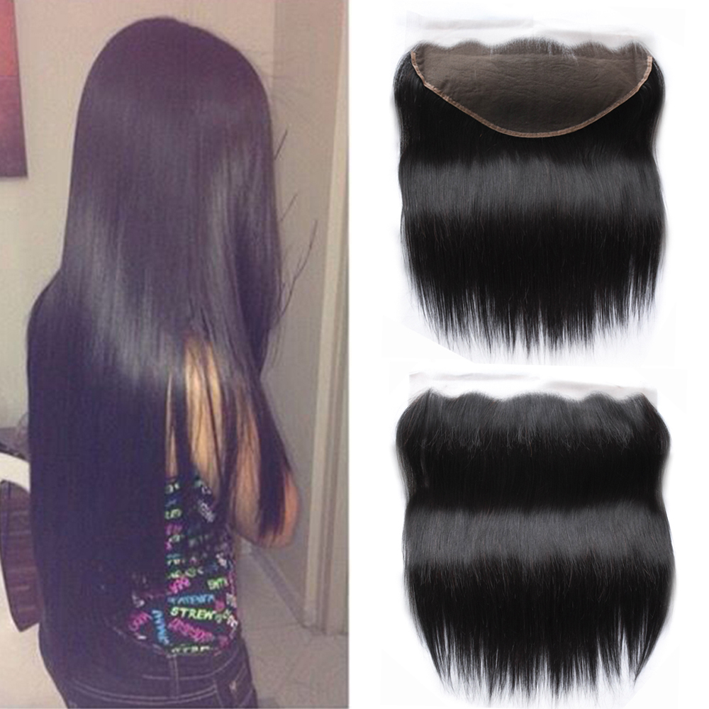 Sapphire Deep Parting Peruvian Straight Human Hair Lace Frontal Closure 13x6 With Baby Hair Free Part Swiss Lace Natural Color