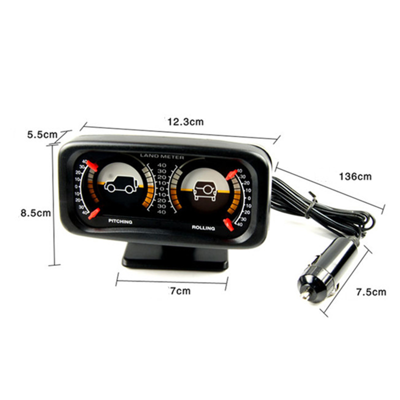 Auto Pitching ROLLING Meter Auto Car Compass Adjustable Balance Meter Gauges Slope Indicator Land Meter Pitching /& Rolling Balancing Instrument Tachometers