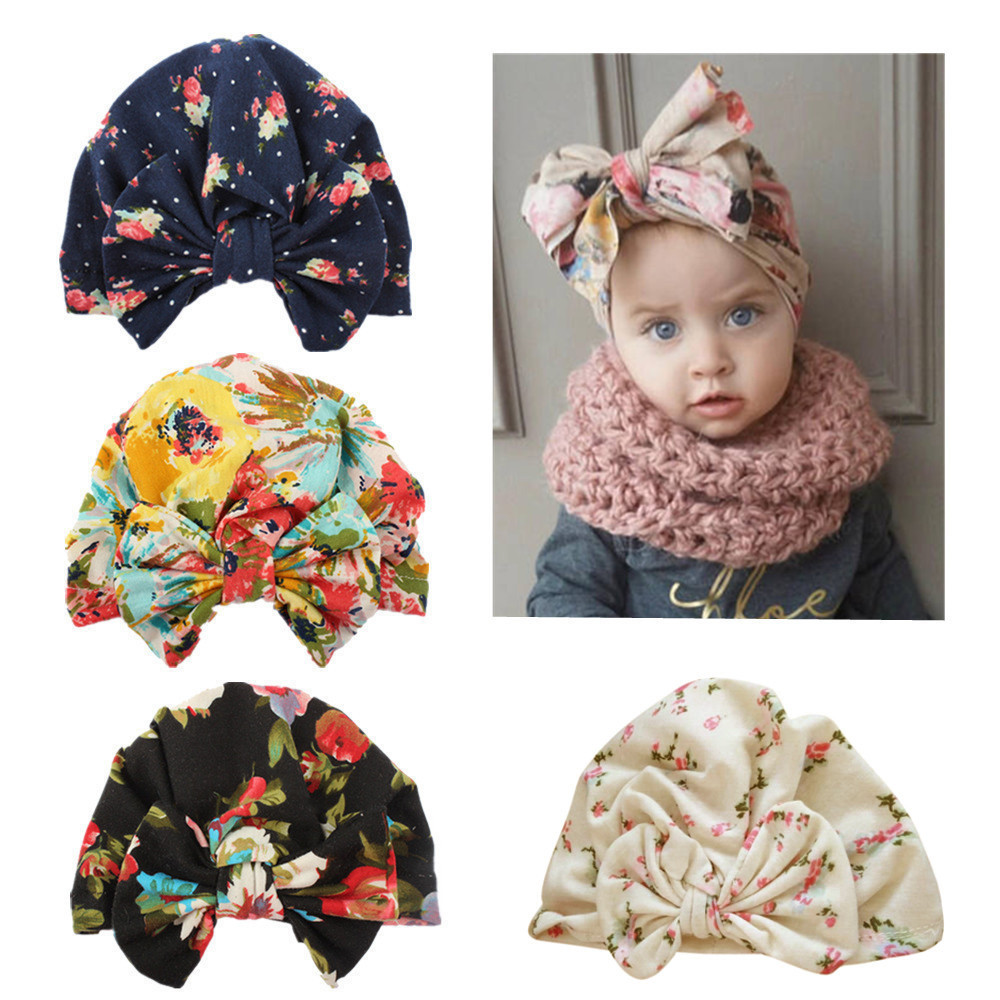 Kids Headband Bow For Girl Polyester Sun Hat Floral Knot Headband Warm Cap Kids Turban Hair Band Accessoire Birthday Gift K510