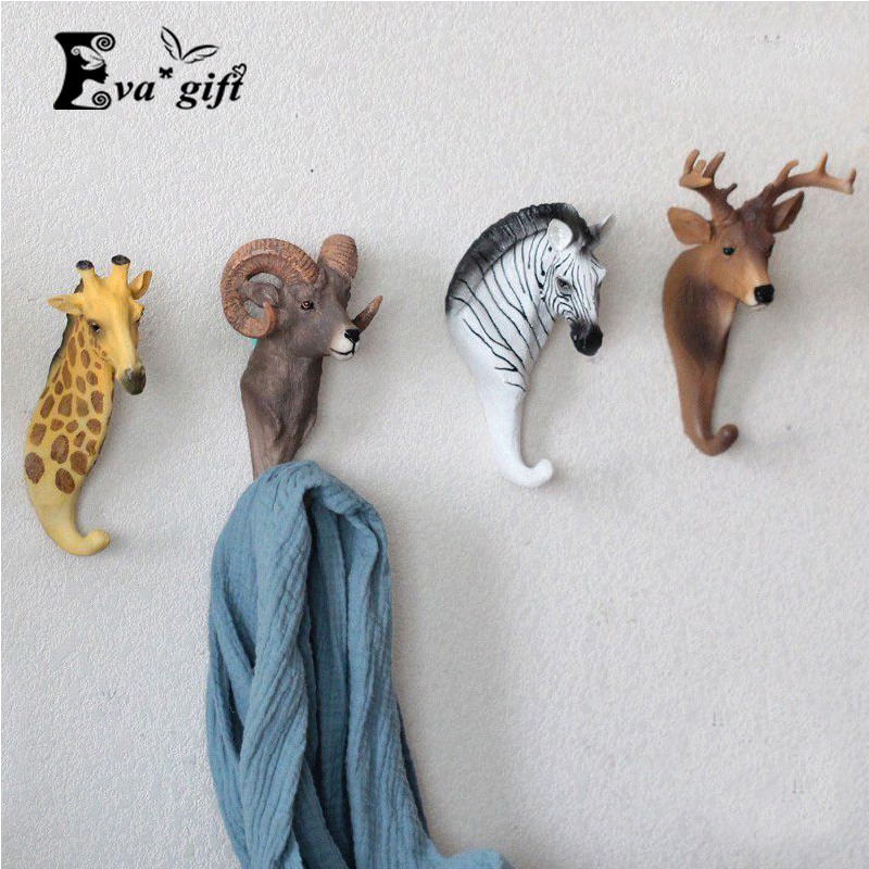 Resin animal keys holder living room cloth wall rack for office hat/bag hook Three-dimensional home Xmas decor