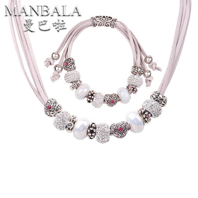 MANBALA Joyería Nupcial de la Boda Con El Corazón Plateado Collar y Pulsera de Las Mujeres Conjuntos de Joyas de Cristal De Cerámica 900AQ