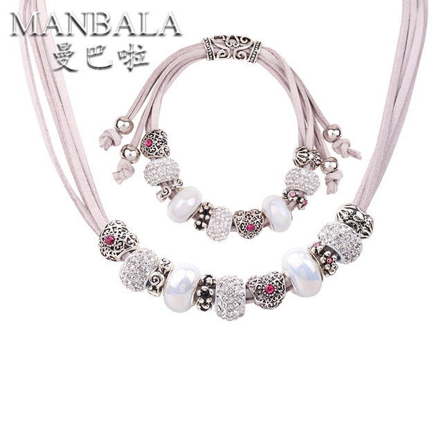 MANBALA  Wedding Bridal Jewelry Sets With Silver Plated Heart Necklace and Bracelet Women Ceramic Crystal Jewelry Sets 900AQ
