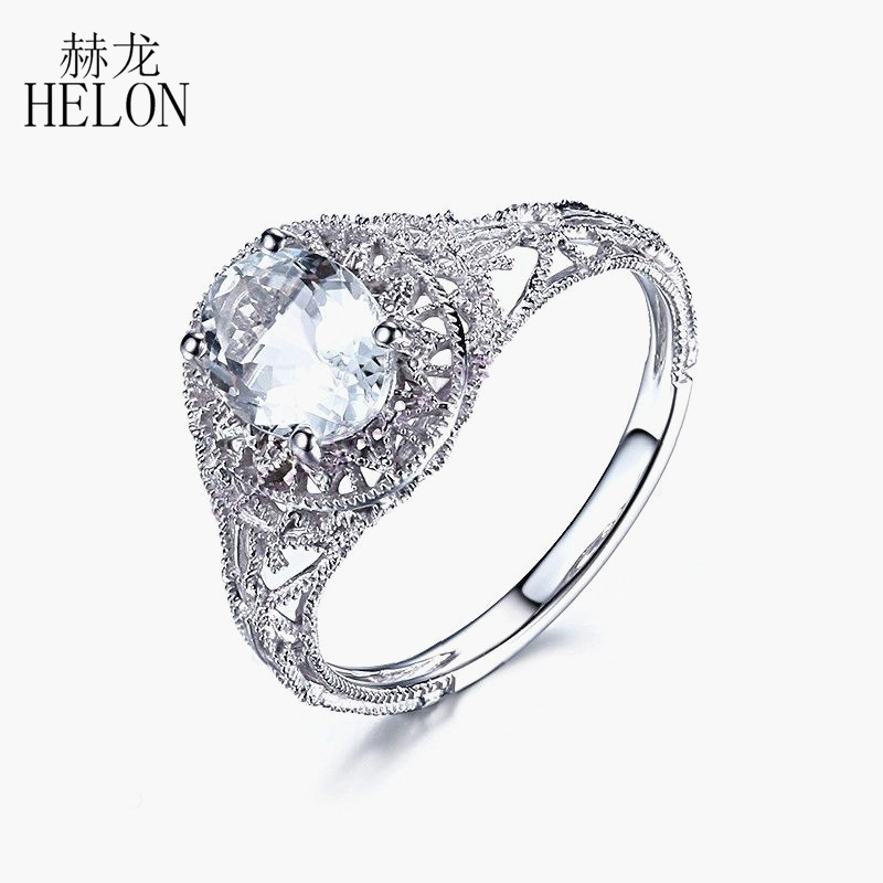 HELON 925 Sterling Sliver 8x6mm OVAL Natural Aquamarine Ring Art Deco Antique Solitaire Gemstone Fine Jewelry Wedding RingHELON 925 Sterling Sliver 8x6mm OVAL Natural Aquamarine Ring Art Deco Antique Solitaire Gemstone Fine Jewelry Wedding Ring