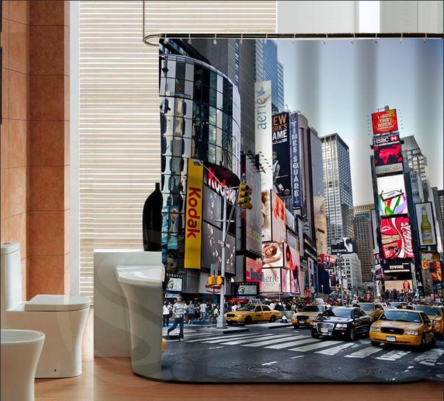 Personalizado New York Times Square Cortina De Chuveiro Novo Clássico Bath  Decor Scenic Cortina De Chuveiro