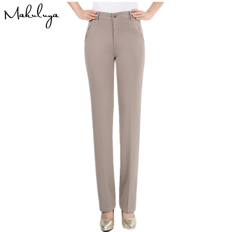 Makuluya 2019 NEW ARRIVAL Slim Leg Women Trousers Straight Middle Waist Lady Pants Grace Zipper Pocket Plus Size Casual Pants L6
