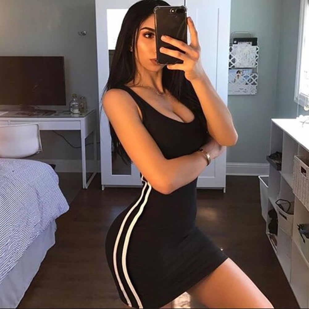 ZSIIBO Sexy kobiety letnia sukienka bandaż Bodycon bez rękawów wieczór do klubu na imprezę krótka Mini sukienka 2019 moda kobiety ubrania