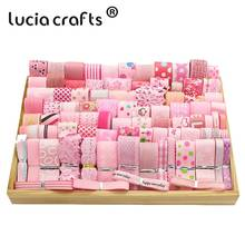 Lucia Crafts  100g/lot 6 40mm  Grosgrain/Organza/Satin Ribbon Lace DIY Headwear Wrapping Wedding Decorative S0608