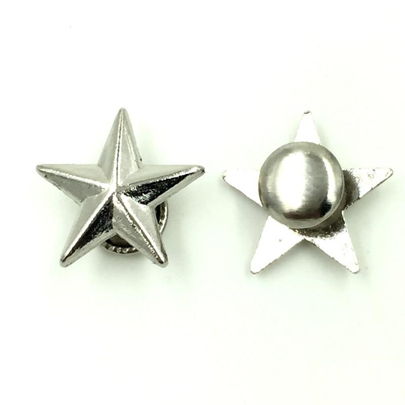100Sets High Quality DIY Punk Star Pentacle Studs Spots Garment Rivets Spike Silver Tone 13x13mm