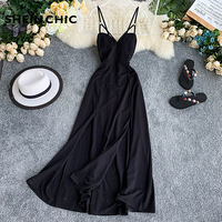 Vintage 2019 Summer Women Maxi Dress Elegant Blakc Evening Party V Neck Backless Long Dress Beach Sexy Slim Retro Verano Vestido