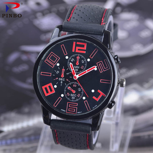F1 Car Racing Style Military Sports Men Watch FashionSilicone Strap Quartz Watches 2017 Top Brand Male Clock Wristwatch PINGBO1