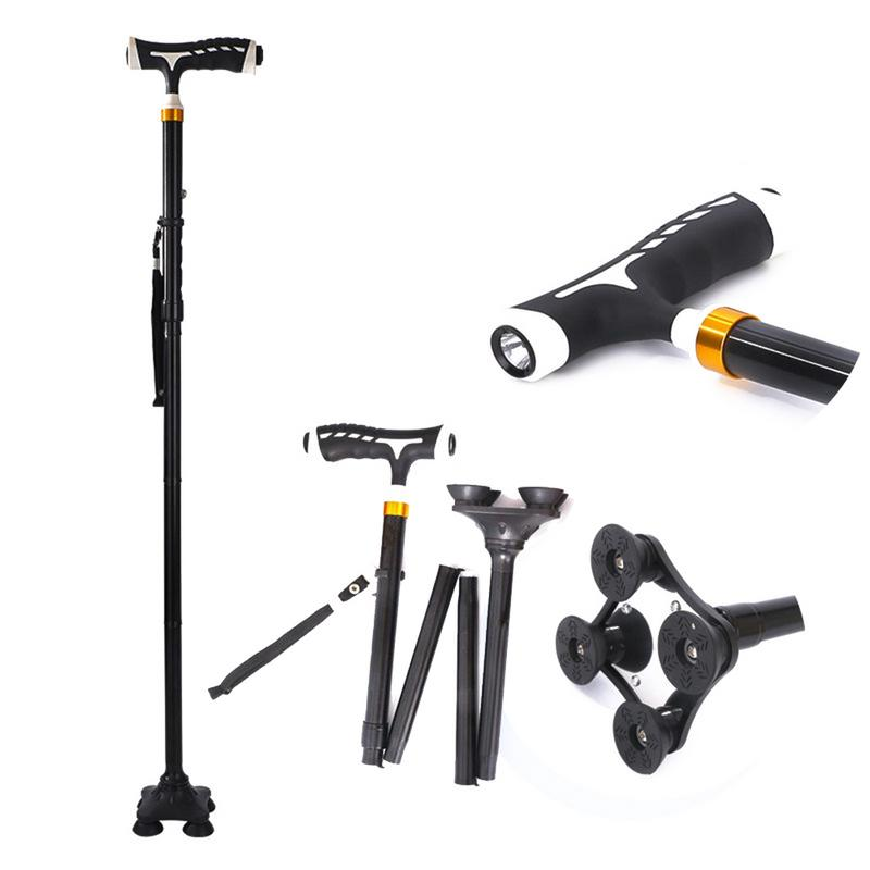 Outdoor Tools Strong-Willed Mumian Smart Hand Crutches Cane Elderly People Four-legged Non-slip Aluminum Alloy With Light Folding Old Cane