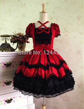 Noble Style Lace Sleeveless Women Lolita Tutu Dress with Gothic Look Multicolored