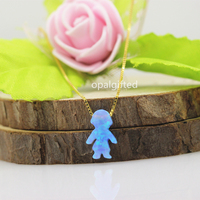 Hot Selling High Quality Synthetic Opal Boy And Girls Heart Necklace 925 Sterling Silver For A