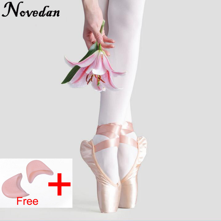 New Satin Canvas Pointe Shoes With Ribbon And Gel Toe Pad Girls Women's Pink Professional Ballet Dance Pointe Toe Shoes Clear-Cut Texture