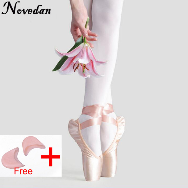 New Satin Canvas Pointe Shoes With Ribbon And Gel Toe Pad Girls Women's Pink Professional Ballet Dance Pointe Toe Shoes