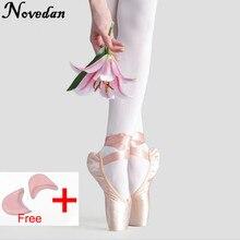 Yeni saten tuval Pointe ayakkabı şerit ve jel ayak pedi kızlar kadınlar pembe profesyonel bale dans Pointe ayak ayakkabı