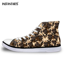 INSTANTARTS New High Top Women Shoes Lace Up Vulcanize Shoes Cute 3D Pet Pug Dog Printed Casual Canvas Shoes for Students Ladies недорого