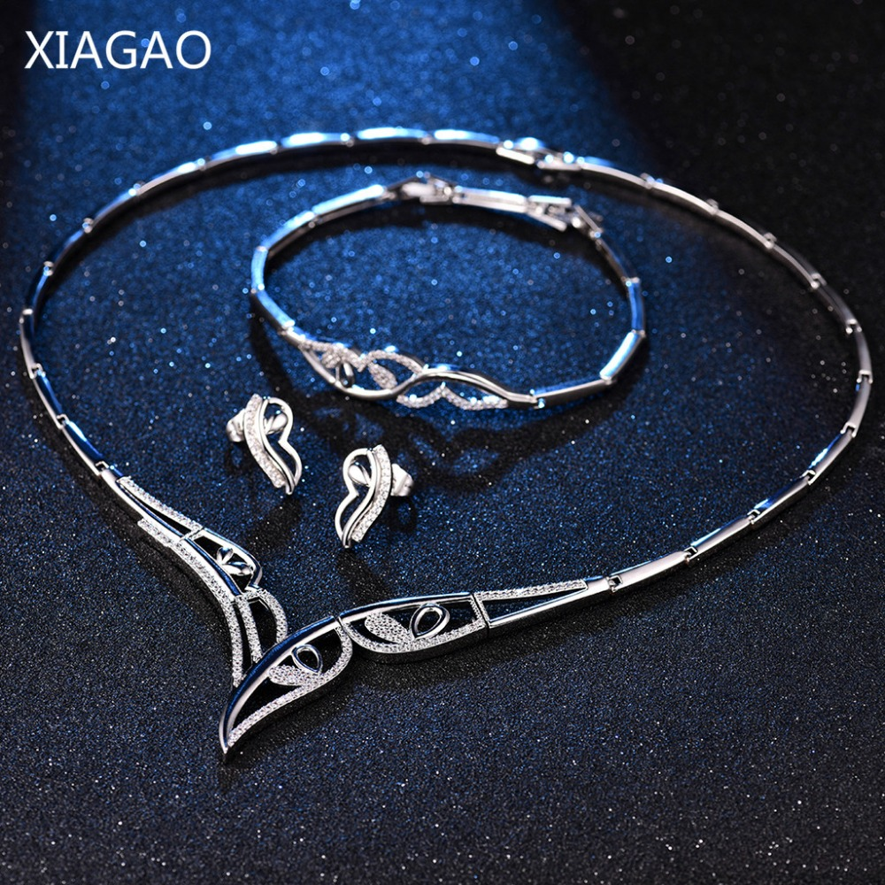 XIAGAO Angel Wings Silver Color Jewelry Set Bride Classic Rhinestone Crystal Decorations for Women Necklace Earring Bracelet rhinestone angel wings heart bracelet