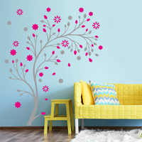Pink Flower vine Tree wall Stickers PVC Material 3D Creative wall decals For Living room bedroom Children Girl room decor murals