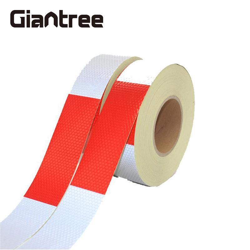 где купить Giantree 5cm*3m Reflective Tape Warning Car Auto Truck Styling Reflective Safety Warning Tape Roll Signs Film Red+White Sticker дешево