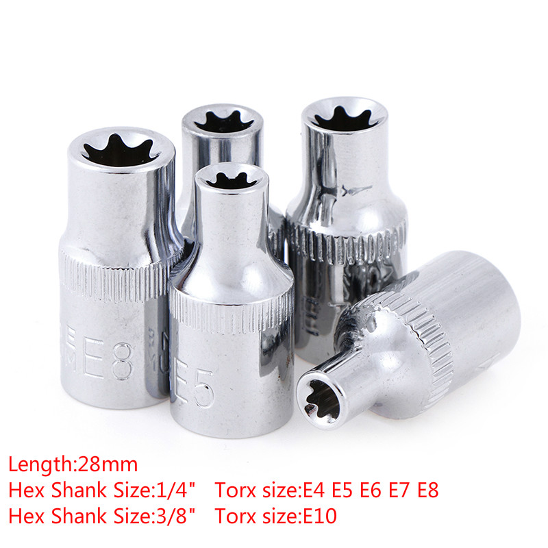 One Or 5pcs E-Socket Sockets 1/4 Inch(6.3mm)/3/8