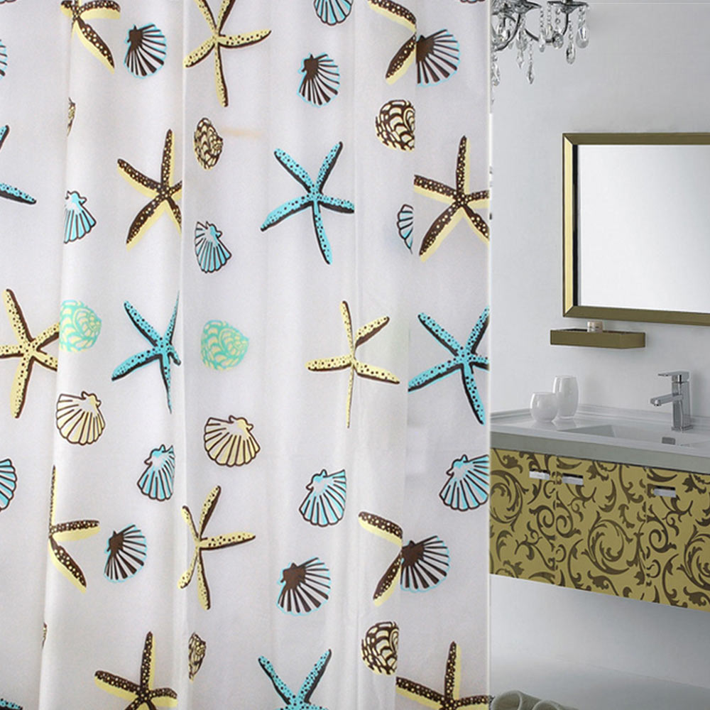 Waterline Plain Bathroom Water Splash Resistant Shower Curtain 12 Matching Ring