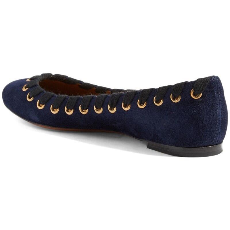 Chaussures Blue Nouveau automne 4 16 Femmes Grand Plats Femme Rond Taille Talons Casual Pour Rue Printemps amp; Confortable Arrivée Troupeau Bout Bleu qPxEn1dHwx