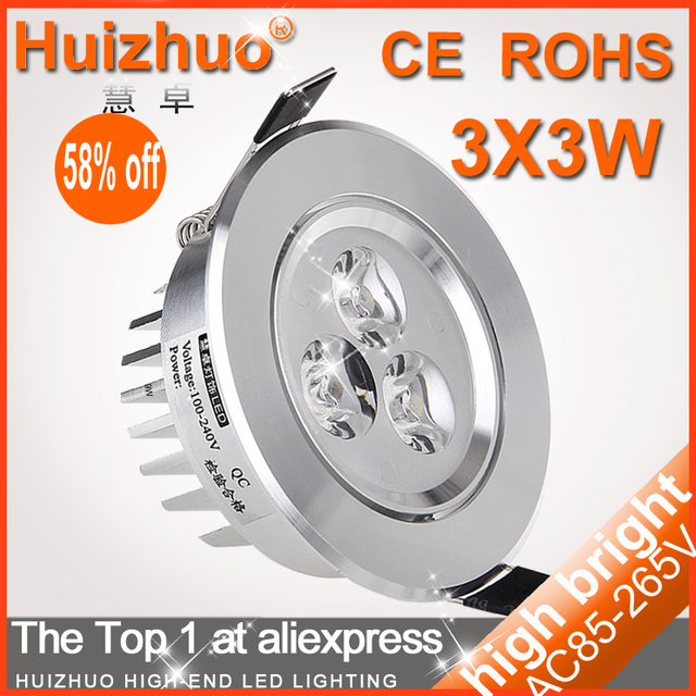 Big Discount[Huizhuo Lighting]3*3W AC85-265V LED Ceiling Light CE&ROHS 2 Years Warranty Recessed LED Ceiling Downlight
