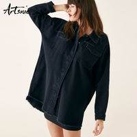 Artsnie streetwear casual ripped black denim women jacket spring 2019 double pockets jeans long jacket chaquetas Mujer coats