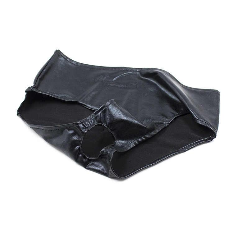 المرأة Wetlook لامعة بيكيني سراويل داخلية Crotchless سراويل ، اللاتكس الملابس الداخلية للجنسين قصيرة مثير G-سلسلة ثونغ السروال