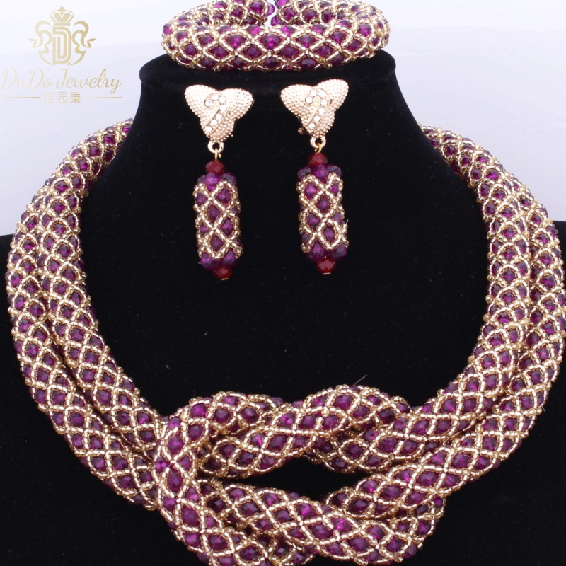 Gorgeous Nigerian African Wedding Beads Jewelry Set Store Purple And Gold Statement Costume Necklace Set 2017