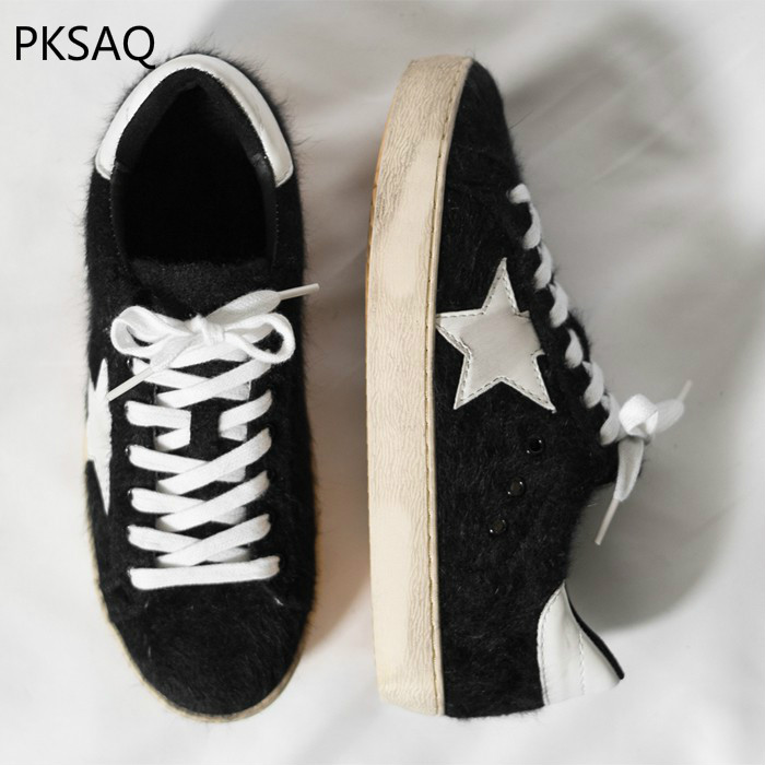 Autumn Winter New Black Hair Sneaker Shoes Women's Cotton Do Old Dirty Casual Shoes Star Warm Fashion Flat Party Shoes цены
