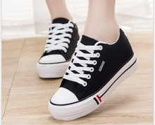 Spring/summer Shoes Woman High Platform Canvas Shoes lace up Casual Flats white Shoes Woman 9137