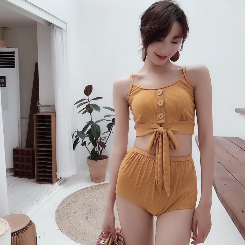 Swimwear Female Big Size Swim Suit Woman Trikinis Swimsuit Tankini Push-Up 2019 Bath For Beach Women Wear Korean Sexy Row Buckle