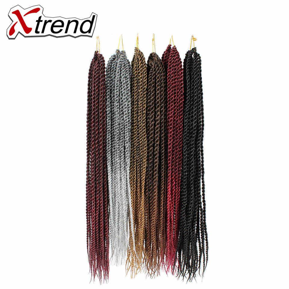 Xtrend 14 18 22 дюймов 30 корней Сенегальские вьющиеся волосы крючком шиньоны с косичками Омбре синтетические волосы для плетения