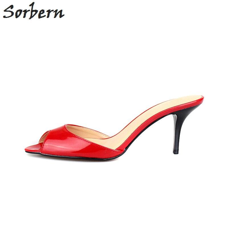 Sandales Sorbern Noir Plein Air Talons Hauts Pantoufles Sexy Cm Bout 7 D'été 48 Grandes Tailles rouge À Femmes En Ouvert Mules 35 Diapositives Chaussures eErdoCxWQB