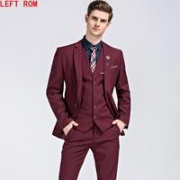 men Suit 2018 Famous Brand Mens Suits Wedding Groom Plus Size S 5XL 3 Pieces(Jacket+Vest+Pant) Slim Fit Casual Tuxedo Suit Male