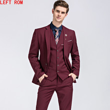 Mens Suits Wedding Groom Plus Size S- 5XL 3 Pieces(Jacket+Vest+Pant) Slim Fit