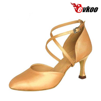 X Strap Woman Modern Dance Shoes Satin Material Four Color Comfortable Shoes Evkoo 032